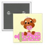 Botón rosado del mono del bebé pin