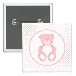 Botón rosado del oso de peluche