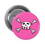 Botón rosado del pinback del dibujo animado del sc