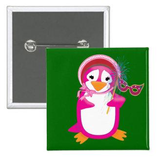 Botón rosado del pingüino del carnaval pins