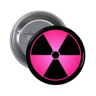 Botón rosado del símbolo de la radiación pins