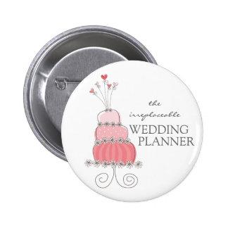 Botón rosado dulce del planificador del boda del pin redondo de 2 pulgadas