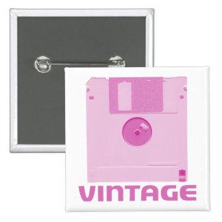 Botón rosado flojo del vintage pin cuadrado