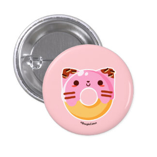 Botón rosado lindo de Pinback del gato del buñuelo Pin Redondo De 1 Pulgada