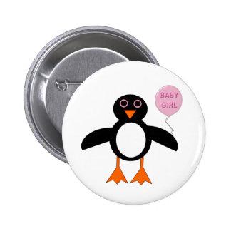 Botón rosado lindo del pingüino de la niña pin redondo de 2 pulgadas