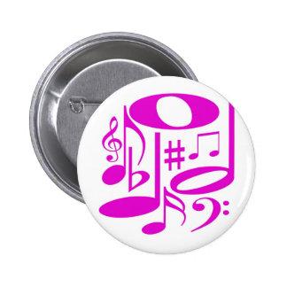 Botón rosado musical pin redondo de 2 pulgadas