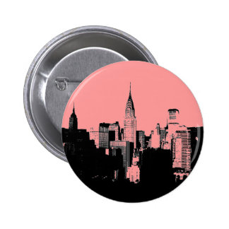Botón rosado, negro y blanco de New York City Pin Redondo De 2 Pulgadas