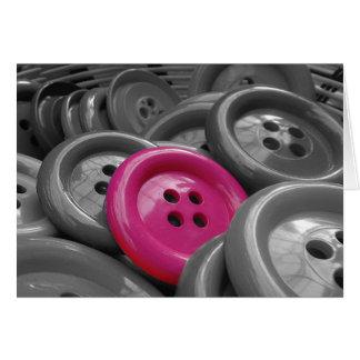 Botón rosado tarjeta de felicitación