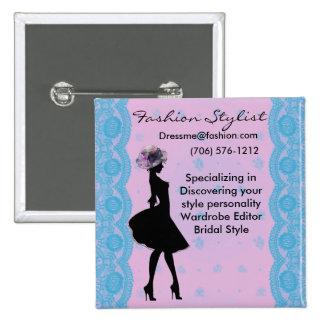 Botón rosado y azul del estilista de la moda del pins