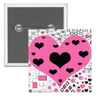 Botón rosado y negro de los corazones pin cuadrado