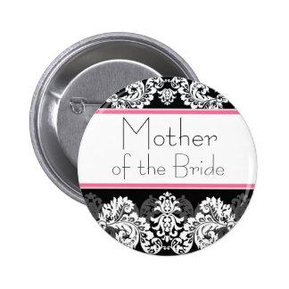 Botón rosado y negro del banquete de boda del dama pin redondo de 2 pulgadas