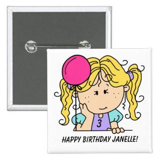 Botón rubio de encargo del cumpleaños del chica