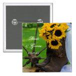 Botón rústico del boda del país de los girasoles pin