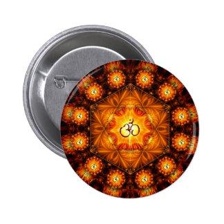 Botón sagrado de la mandala de OM G del oro Pin Redondo De 2 Pulgadas