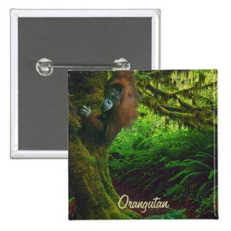 Botón salvaje del arte del orangután y del primate pin cuadrado