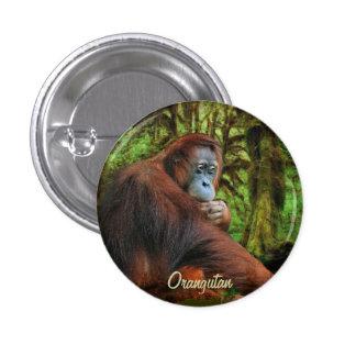 Botón salvaje del arte del orangután y del primate pin redondo de 1 pulgada