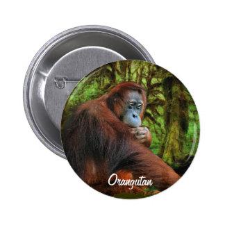 Botón salvaje del arte del orangután y del primate pin redondo de 2 pulgadas
