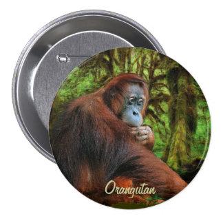 Botón salvaje del arte del orangután y del primate pin redondo de 3 pulgadas