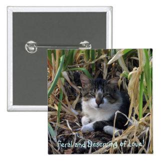 Botón salvaje del gatito pin cuadrado