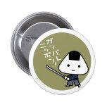 Botón - samurai de Riceball - oro de Ganbare Japón Pins