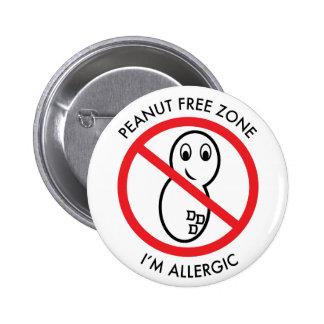 Botón severo de la alergia del cacahuete pin redondo de 2 pulgadas