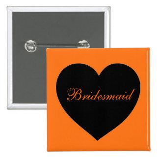 Botón simple negro anaranjado de la dama de honor pin cuadrado
