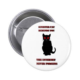 Botón siniestro del gato pin redondo de 2 pulgadas