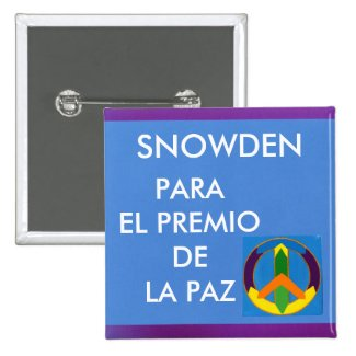 Botón - Snowden para el Premio de la Paz Pinback Buttons