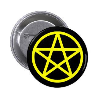 Botón sólido negro amarillo del pentáculo pin redondo de 2 pulgadas