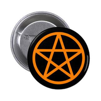 Botón sólido negro anaranjado del pentáculo pin redondo de 2 pulgadas
