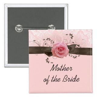 Botón soñador del damasco del rosa color de rosa pin cuadrado