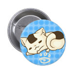Botón soñoliento del gato de Onigiri (azul) Pin