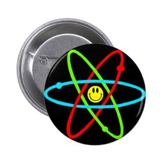 Botón sonriente atómico pin redondo de 2 pulgadas