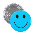 Botón sonriente azul de la cara de la aguamarina pins