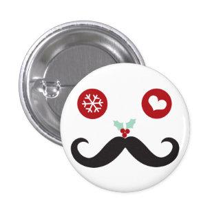 Botón sonriente del día de fiesta del bigote lindo pin redondo de 1 pulgada