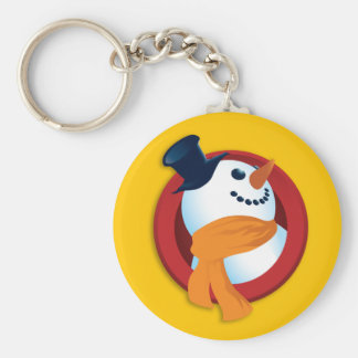 Botón sonriente del muñeco de nieve - amarillo llaveros personalizados