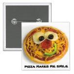 Botón sonriente/feliz de la pizza de la cara pin