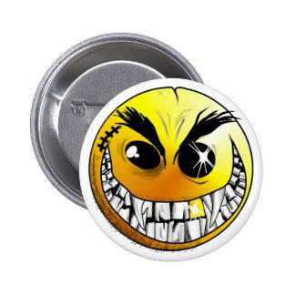 Botón sonriente malvado pin redondo de 2 pulgadas