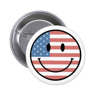Botón sonriente patriótico pin
