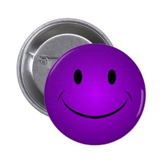 Botón sonriente púrpura pin