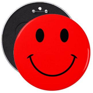 Botón sonriente rojo de la cara pin redondo de 6 pulgadas