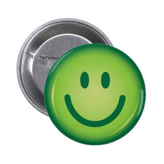 Botón sonriente sonriente verde feliz de la cara pins