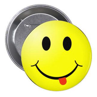 ¡Botón sonriente tonto de la cara con la lengua Pin Redondo De 3 Pulgadas