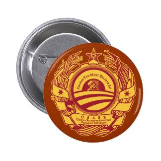 Botón soviético americano oficial de las república pin redondo de 2 pulgadas