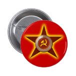 Botón soviético de la estrella pin redondo de 2 pulgadas