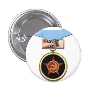 Botón soviético de la medalla del as