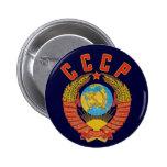Botón soviético del escudo de armas CCCP Pin Redondo De 2 Pulgadas