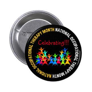 Botón Stickpeople del mes de la terapia Pin Redondo De 2 Pulgadas