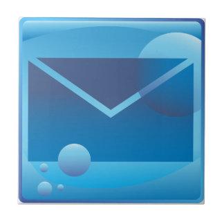 Botón subacuático del icono de la letra del correo azulejo cuadrado pequeño