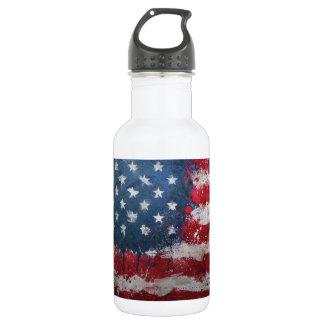 Botón sucio de la bandera americana botella de agua de acero inoxidable